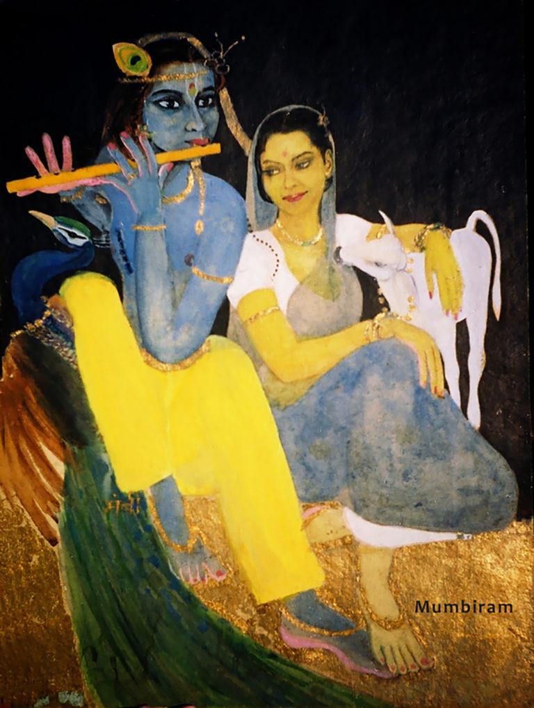 """""""Radha Svadheenbhartrika (Radha has Krishna to herself in a favourable mood)"""" by Mumbiram, Watercolor, 1995, Pune"""