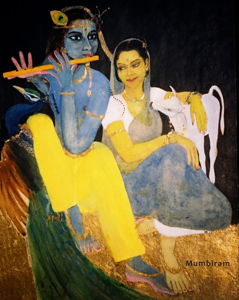 """Radha Svadheenbhartrika (Radha has Krishna to herself in a favourable mood)"" by Mumbiram, Watercolor, 1995, Pune"