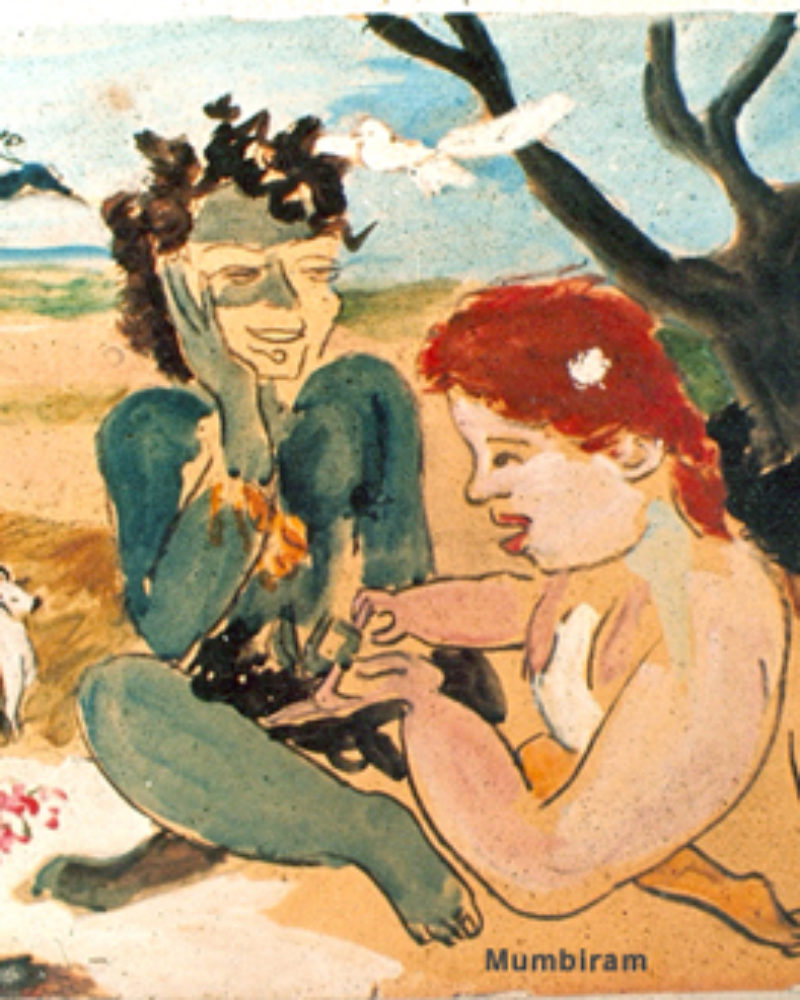 """Red haired amateur palmist girl reading Krishna's fortune near Govardhan"", by Mumbiram, Gouache Watercolor, Seattle 1976"