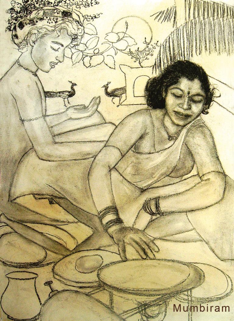 """""""Not by bread alone – Kusum making chapattis"""", by Mumbiram, Charcoal, Pune 1990"""