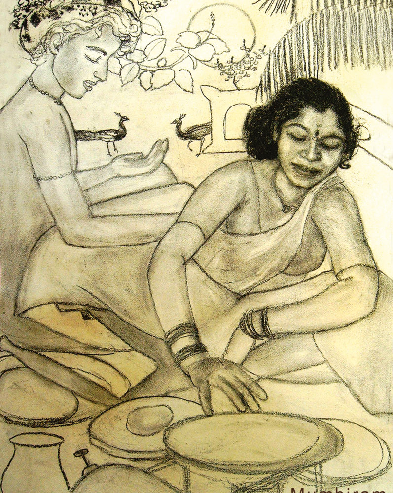 """Not by bread alone – Kusum making chapattis"", by Mumbiram, Charcoal, Pune 1990"