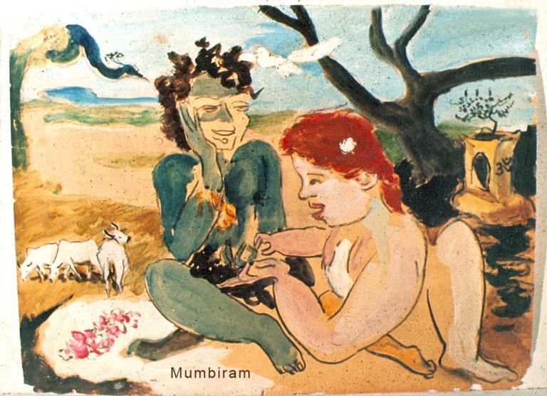 """Red haired amateur palmist girl reading Krishna's fortune near Govardhan"", by Mumbiram, Gouache Watercolor, Seattle 1976"
