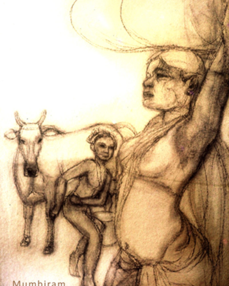 """Encounter on the way back from the forest"" by Mumbiram, Charcoal on paper, 1987, Pune"
