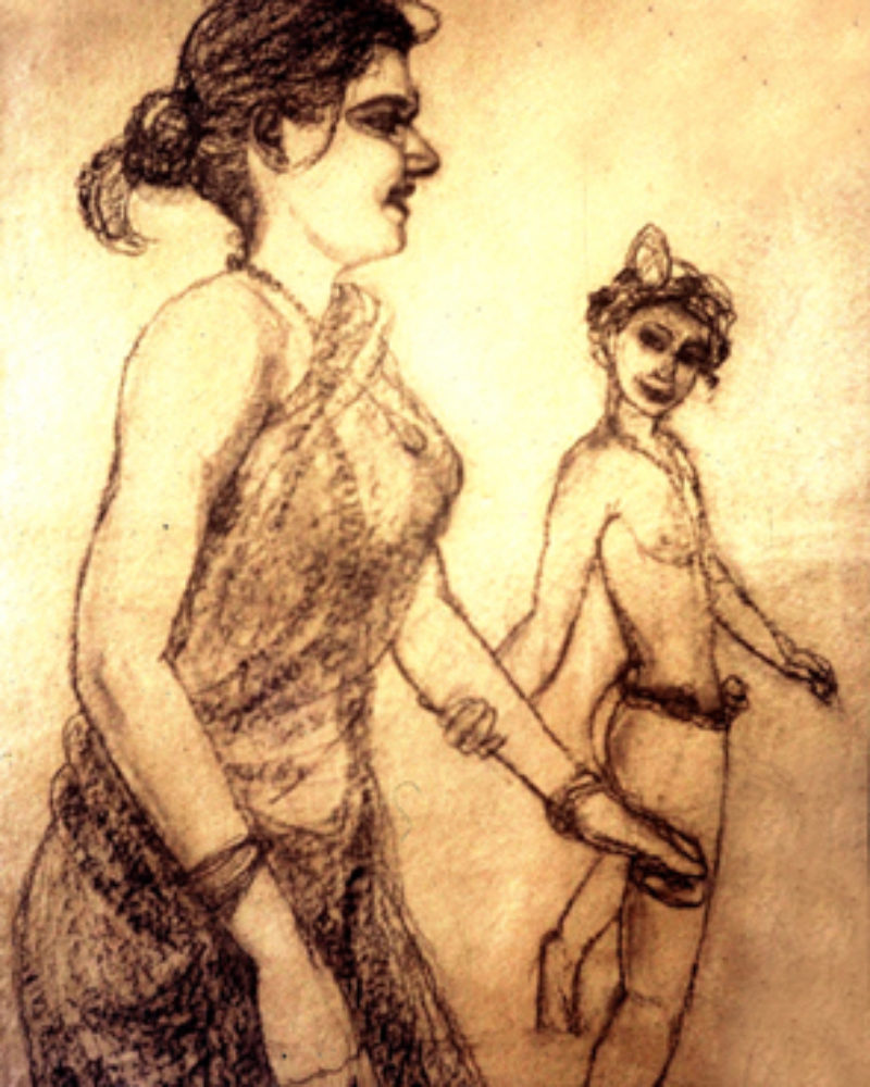"""I let him persuade me"", by Mumbiram, Charcoal on paper, 1985, Pune"