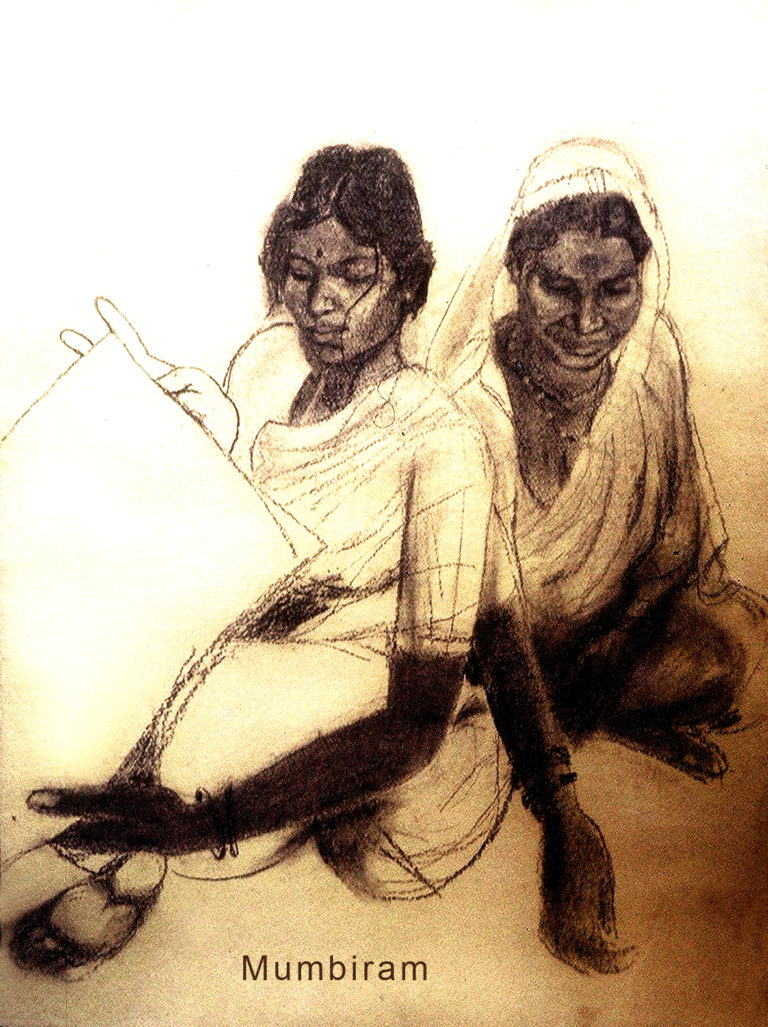 """Kusum brings her Mother Sakhrabai to visit the Artist"", by Mumbiram, Charcoal, 1984, Pune"
