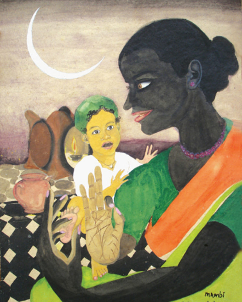 """Vrindadevi reveals the secrets of Bhakti"", by Mumbiram, Watercolor, 1990, Pune"