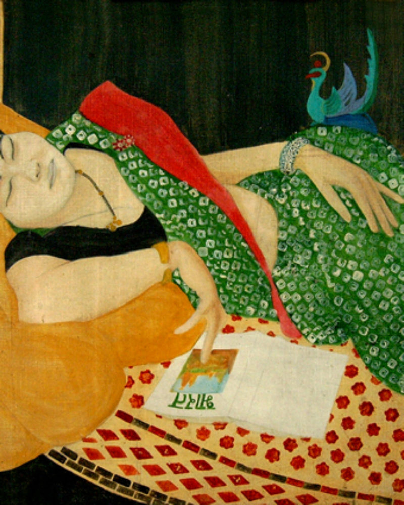 """Gokula dreaming of India"" by Mumbiram, Oil on canvas, 1988, Japan"