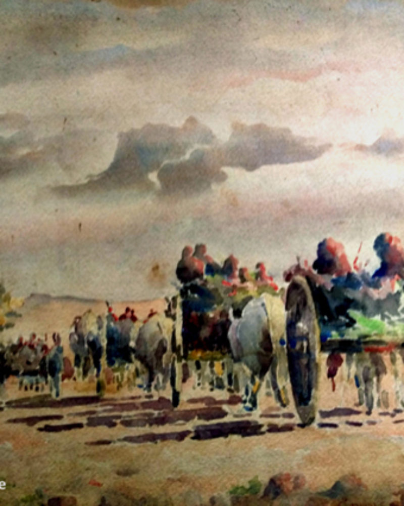 """Bullock Cart Caravan returning home at sundown"", by S.H.Godbole, watercolor, Pune, 1948"