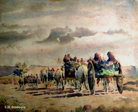 """""""Bullock Cart Caravan returning home at sundown"""", by S.H.Godbole, watercolor, Pune, 1948"""