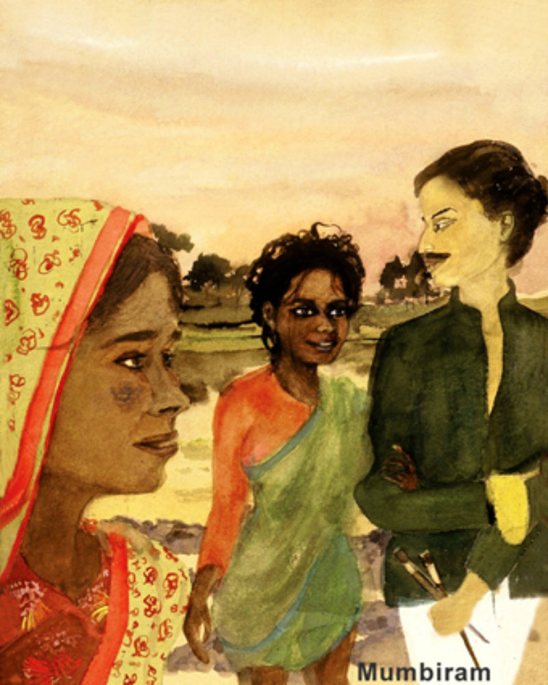 """Drupada coming out of the river with Mumbiram"", by Mumbiram, Watercolor, 1990"