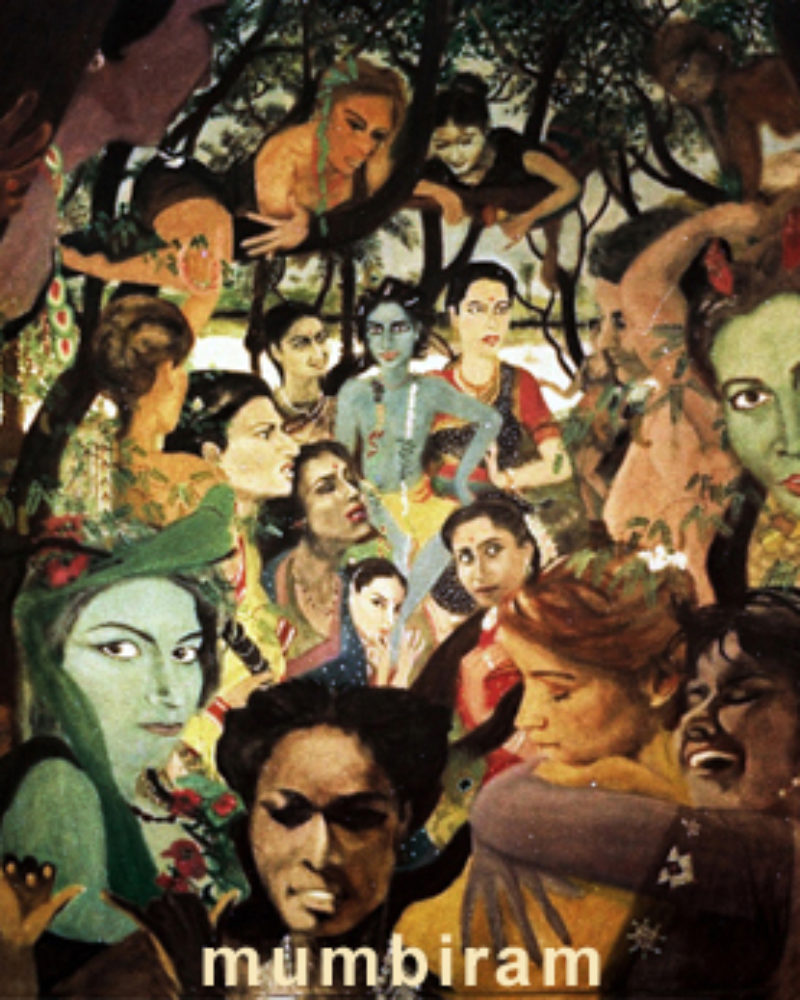 """Forest Women Visit Krishna and the Gopis – A Legendary Painting"", Mumbiram, Oil on  Canvas, Pune 1985"
