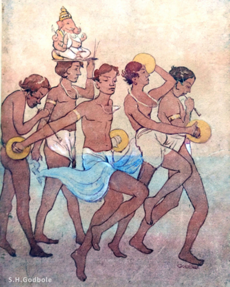 """Young Men with Ganesha on Ocean Beach"", by S.H.Godbole, watercolor, Pune, circa 1930"