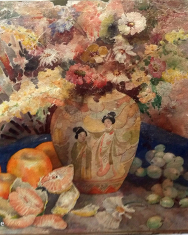 """Antique Japanese Vase in Artist Godbole's legendary farmhouse in Pune"", by S.H.Godbole, watercolor, Pune, 1950"
