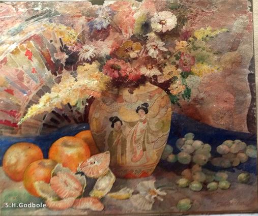 """Antique Japanese Vase in Artist Godbole's legendary farmhouse in Pune"", by S.H.Godbole, watercolor, Pune, 1950"