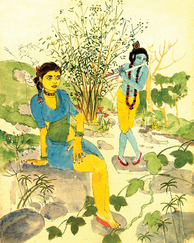 """Meeting by the Stream"", by Mumbiram, Watercolor, Pune, 1990"