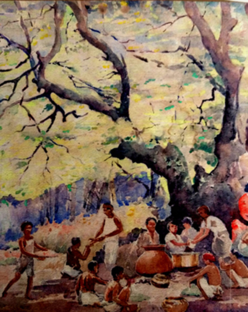 """Midday Feast for the Village Deity in the Forest"", by S.H.Godbole, watercolor, Pune, 1950"