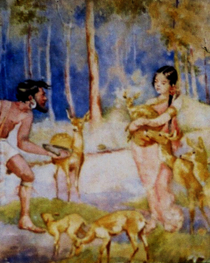 """Ravana's encounter with Sita in Panchavati"", by S.H.Godbole, watercolor, Pune, 1932"