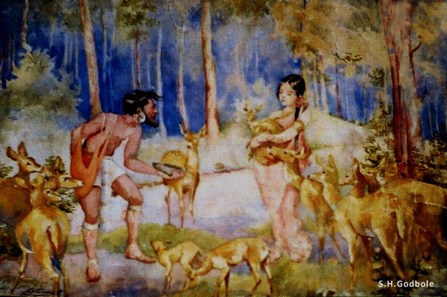 """Ravana's encounter with Sita in Panchavati"", by S.H.Godbole, watercolor, Pune, 1932"
