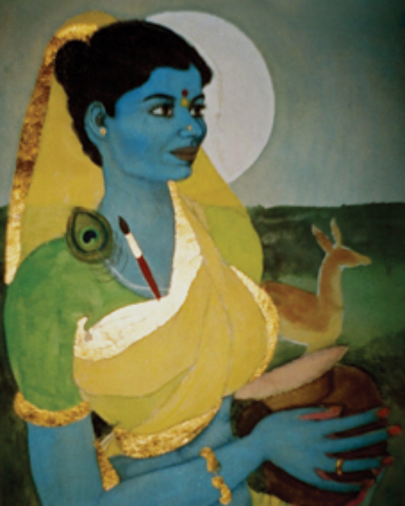 Abhisarika Kusum is carrying a peacock feather and a paint brush tucked into her blouse along with some nectar placed in a clay pot.