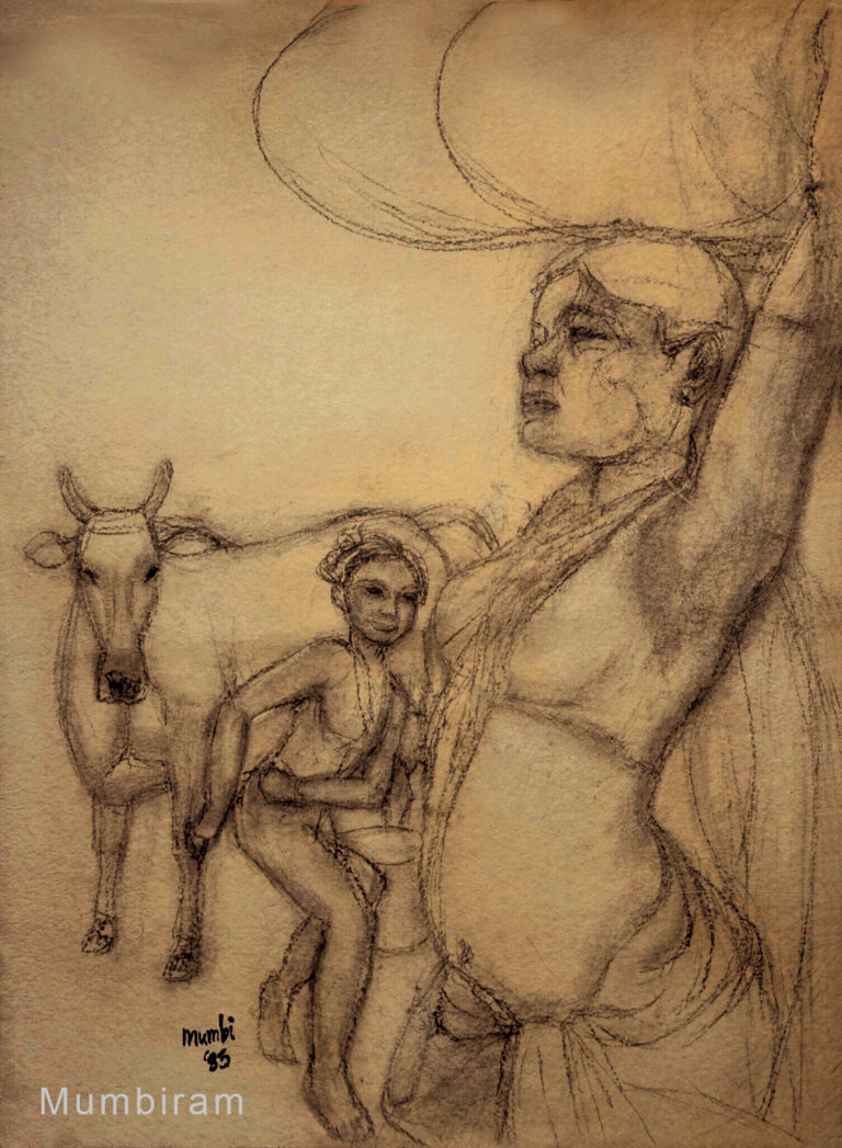 """""""Encounter on the way back from the forest"""" by Mumbiram, Charcoal on paper, 1987, Pune"""