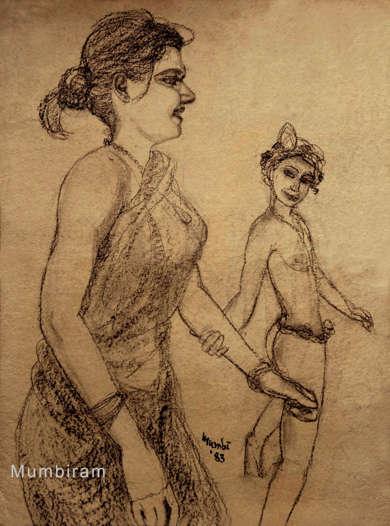 """""""I let him persuade me"""", by Mumbiram, Charcoal on paper, 1985, Pune"""